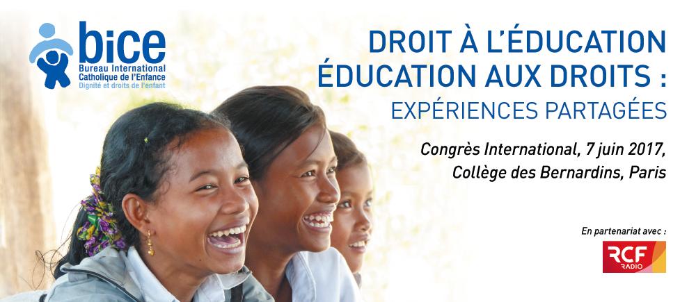 Rendez-vous le 7 juin pour le 4e congrès du BICE consacré à l'Education