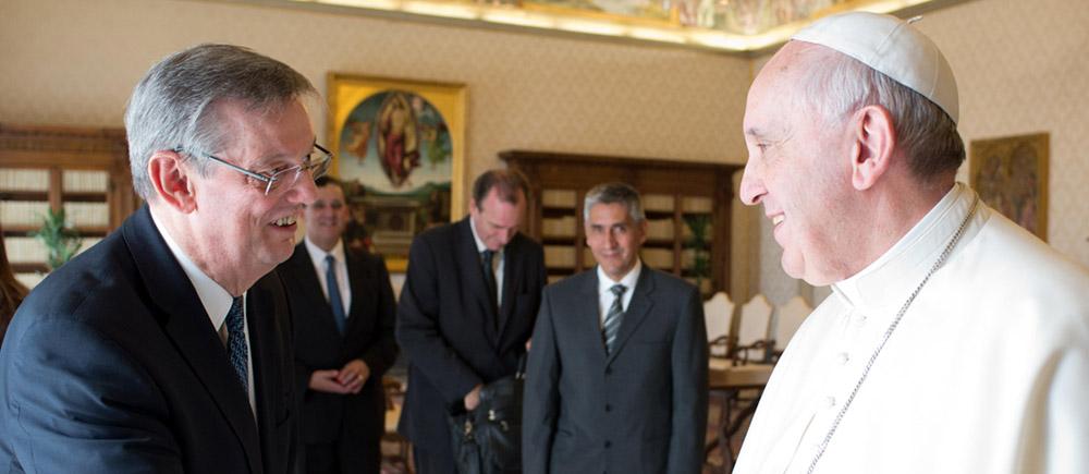 Dans l'histoire du BICE : l'audience avec le Pape François